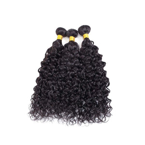 20 Inches Natural Wavy Human Hair Weave Bundle color 1B