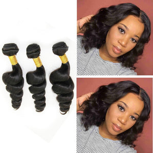 12 Inches Loose Wave Human Hair Weave Bundle Color 1B