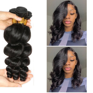 14 Inches Loose Wave Human Hair Weave Bundle Color 1B