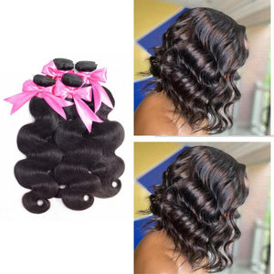 12 Inches Body Wavy Human Hair Weave Bundle 1B