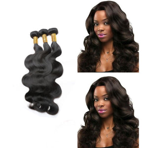 20 Inches Body Wavy Human Hair Weave Bundle Color 1B