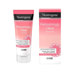 Neutrogena Fresh & Clear Facial Wash with Pink Grapefruit and Vitamin C, 200ml, Fresh & Clear Daily Exfoliator & Pink Grapefruit Oil Free Moisturizer 50 ml