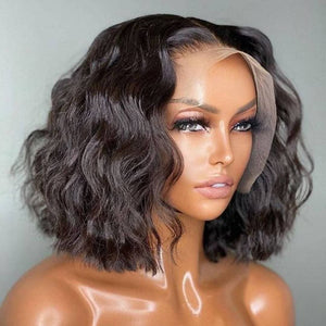 Loose Wave Blunt Cut 10 inch Lace Front Human Hair Wig