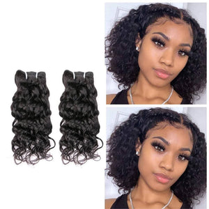 12 Inches Natural Wavy Human Hair Weave Bundle color 1B