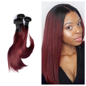 12 Inches Straight Human Hair Weave Bundle Color 1B/99J