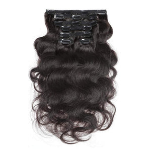 14 Inches Body Wavy Clip in Human Hair Extensions Color 1B