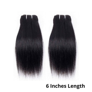 6 Inches Straight Human Hair Weave Bundle Color 1B