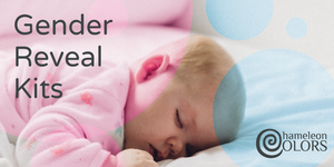 Gender Reveal Kits link and sleeping baby