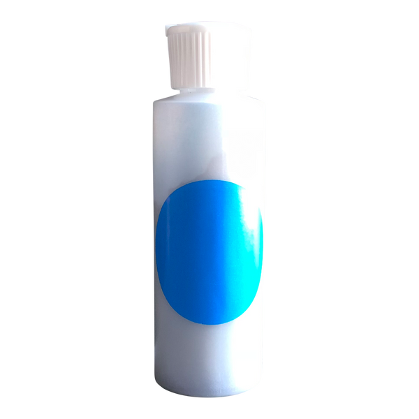 Small plastic cylinder filled with blue concentrated color.