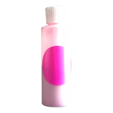 Small plastic cylinder filled with pink concentrated color.
