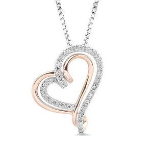 Diamond Double Heart Necklace in 10K Rose Gold and Sterling Silver