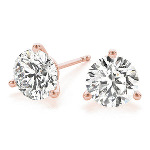 Round 14K Rose Gold 3-Prong Martini Stud Earrings