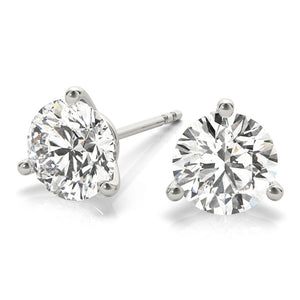 Round 14K White Gold 3-Prong Martini Stud Earrings