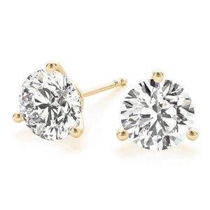 Round 14K Yellow Gold 3-Prong Martini Stud Earrings