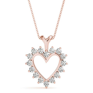 Heart Round 14K Rose Gold Pendant