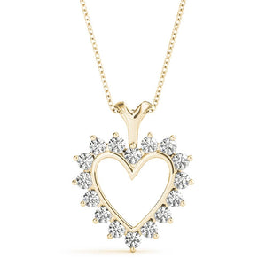 Heart Round 14K Yellow Gold Pendant
