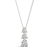 Three-Stone Round 14K White Gold Pendant