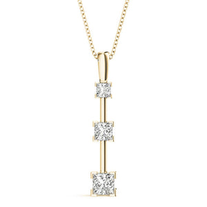 Three-Stone Princess 14K Yellow Gold Pendant