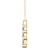 Three-Stone Round 14K Yellow Gold Pendant