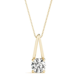 Solitaire Round 14K Yellow Gold Pendant