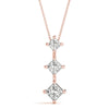 Three-Stone Princess 14K Rose Gold Pendant