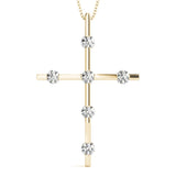Round 14K Yellow Gold Cross Pendant