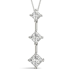 Three-Stone Princess 14K White Gold Pendant