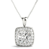 Halo Cushion Platinum Pendant