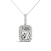 Halo Emerald 14K White Gold Pendant