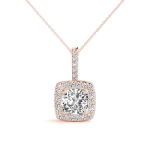 Halo Cushion Moissanite 14K Rose Gold Pendant