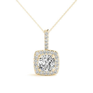 Halo Cushion Moissanite 14K Yellow Gold Pendant