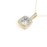 Halo Cushion 14K Yellow Gold Pendant