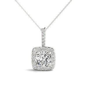 Halo Cushion Moissanite 14K White Gold Pendant