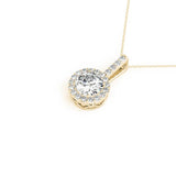 Halo Round 14K Yellow Gold Pendant