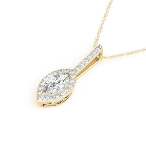 Halo Marquise Moissanite 14K Yellow Gold Pendant