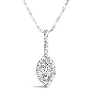 Halo Marquise Moissanite 14K White Gold Pendant