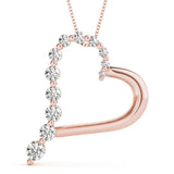 Heart Round 14K Rose Gold Journey Pendant