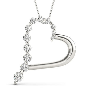0.50 CT. TW. Heart Round 14K White Gold Moissanite Journey Pendant
