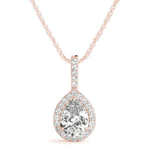 Halo Pear 14K Rose Gold Pendant