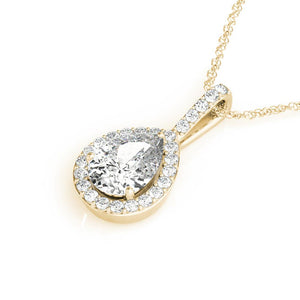 Halo Pear 14K Yellow Gold Pendant