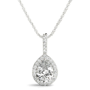 Halo Pear 14K White Gold Pendant