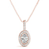 Halo Oval 14K Rose Gold Pendant
