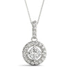 Halo Princess 14K White Gold Pendant