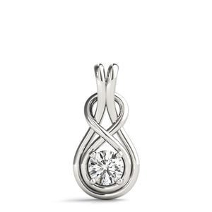 0.33 CT. TW. Love Knot Round 14K White Gold Moissanite Pendant