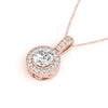 Halo Round 14K Rose Gold Pendant