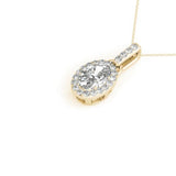 Halo Oval 14K Yellow Gold Pendant