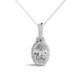 Halo Oval 14K White Gold Pendant