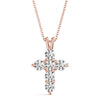 Round 14K Rose Gold Cross Pendant