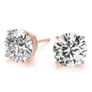 Round 14K Rose Gold 4-Prong Stud Earrings