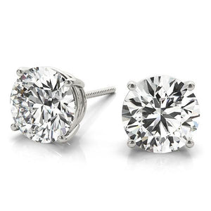 Round Platinum 4-Prong Stud Earrings